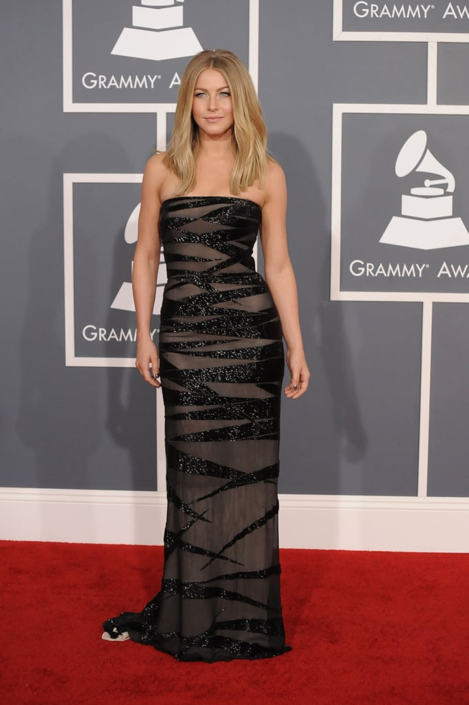 """Julianne Hough stepped out in a strapless Kaufman Franco dress at the Grammys in LA today. Julianne said her boyfriend Ryan Seacrest picked her dress: """"I gotta please the boys."""" Her red carpet appearance comes ahead of a busy few months for the star. In two weeks, she's headed to New Orleans to film a new movie with Diablo Cody (she said, """"It's nothing people have seen me do before""""), and in June she has the release of Rock of Ages. The fun is just beginning on music's biggest night, so weigh in on all the looks by voting on Fab and Bella's red carpet polls here!"""
