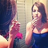 Camilla Belle made her final preparations in the mirror as she readied to turn heads in her blue Ralph Lauren Collection dress. Source: Instagram user camillabelle
