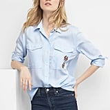 Gap Railroad Stripe Boyfriend Shirt