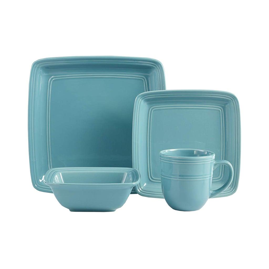 Square Turquoise 16-Piece Dinnerware Set