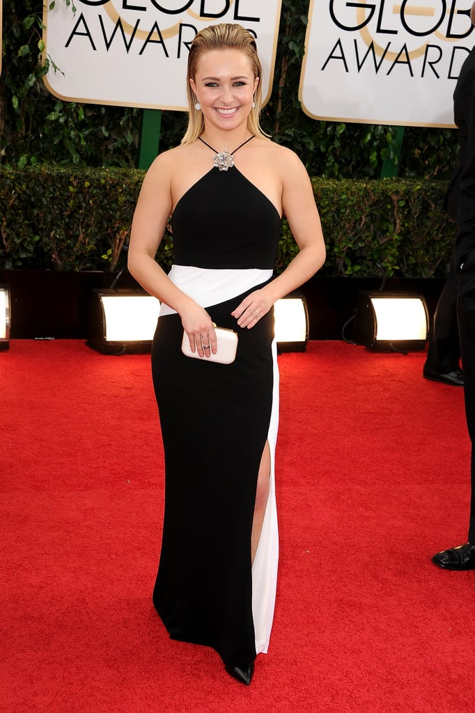 Hayden Panettiere stayed cool in a crisp black and white look for her night at the Globes.