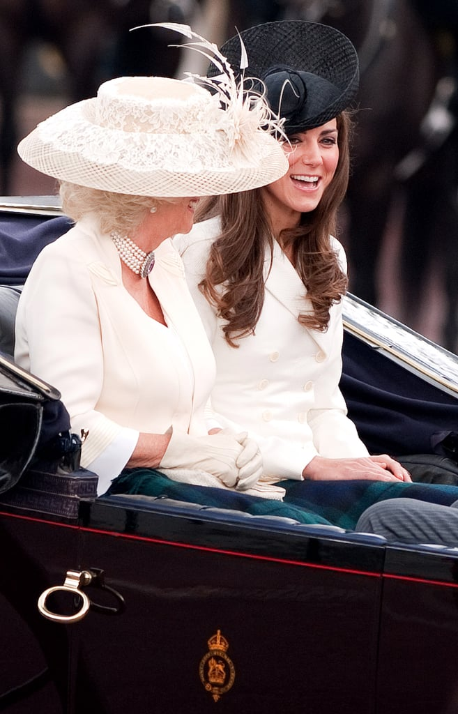 """Kate: """"Is this the one where they wear the tall, furry hats or the floppy ones with the feathers?""""  Camilla: """"Who cares? They're both hilarious."""""""