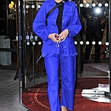 Bella Hadid Leaving Her Hotel Wearing a Blue Marques'Almeida Suit and Off-White Heels