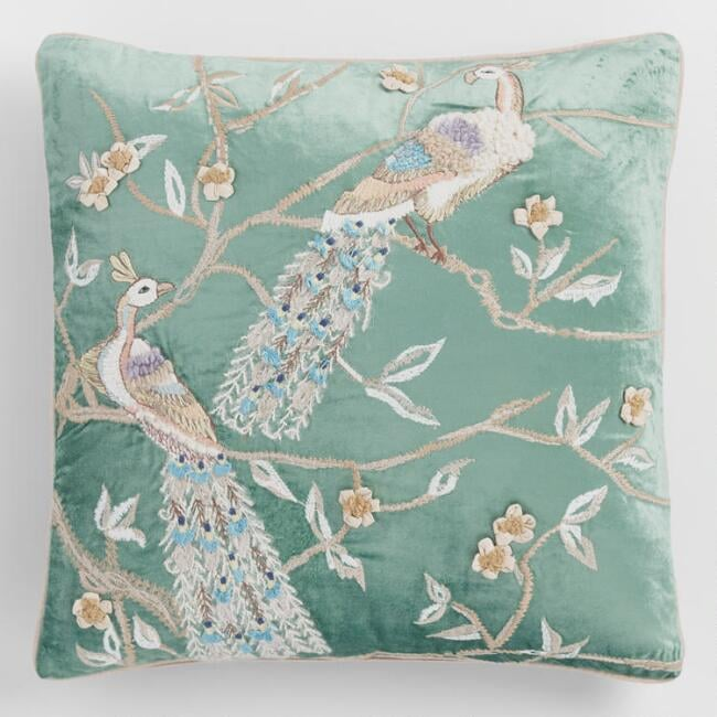 Jadeite Peacock Embroidered Velvet Throw Pillow