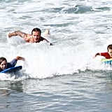 David Beckham with his sons in Malibu.