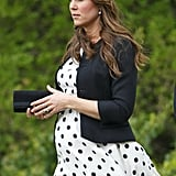 For William Van Cutsem and Rosie Ruck Keene's wedding in May 2013, Kate recycled her white, black-spotted Topshop dress. She rocked the piece with a black-and-white Vivien Sheriff hat and a little black jacket.