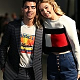 Gigi posed with her boyfriend Joe Jonas backstage.