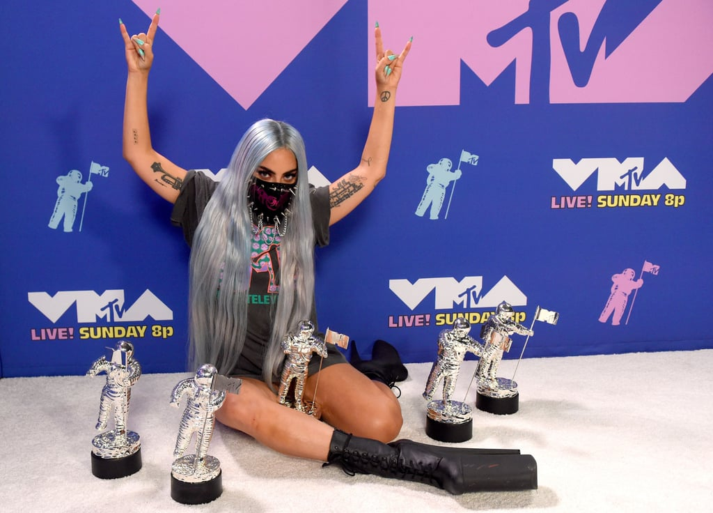 MTV VMA's 2020 | Photos of Lady Gaga Posing With Her 5 Moon Person Trophies