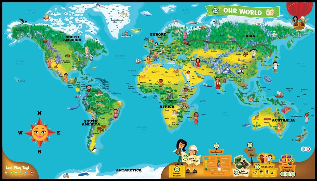 Leapreader interactive world map globe themed games decor and leapreader interactive world map publicscrutiny Images