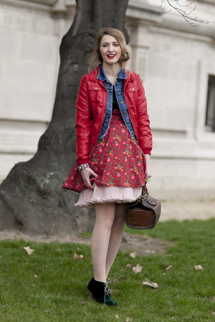 We love the mismatched layers and brilliant red hues.