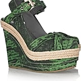 These give our seasonal espadrilles a little exotic edge.  Mulberry Lizard-Print Leather Wedge Sandal ($865)