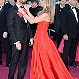 Jennifer Aniston straightened out Justin Theroux's bow tie.