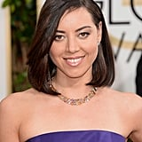 The sea of lights put Aubrey Plaza's chestnut highlights on full display.