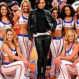 Alicia Keys was boasting a sleek black leather look while posing with the Knicks City Dancers at a game in November 2012.