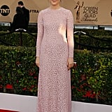 Saoirse Ronan in a powder pink Michael Kors gown.