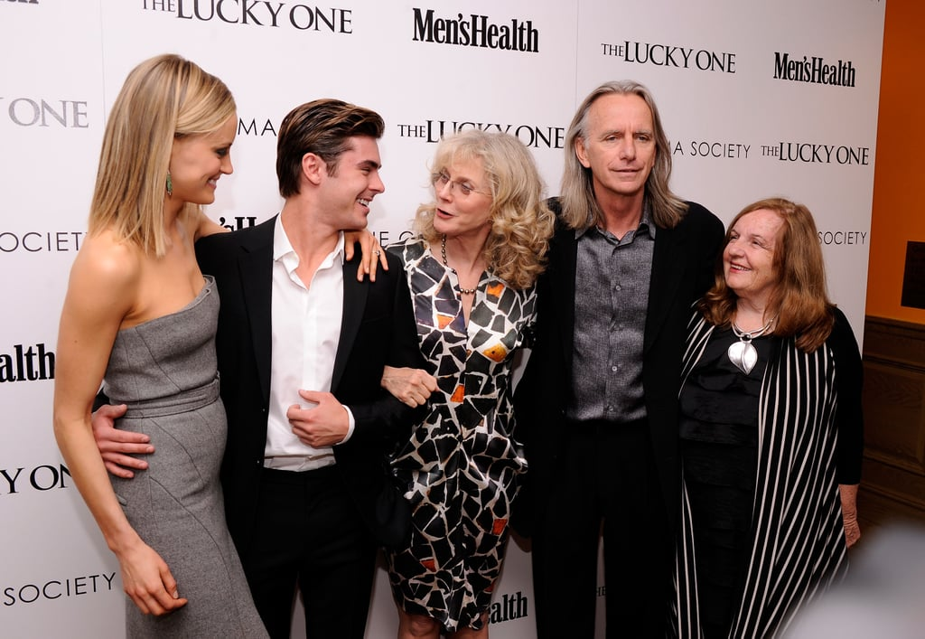 Taylor Schilling, Zac Efron, and Blythe Danner had a laugh with director Scott Hicks and producer Kerry Heysen at the Cinema Society and Men's Health screening of The Lucky One in NYC.