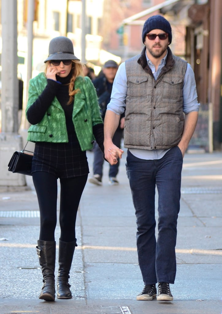 Blake Lively talked on her phone while walking with husband Ryan Reynolds. Source: BSP/X17online.com