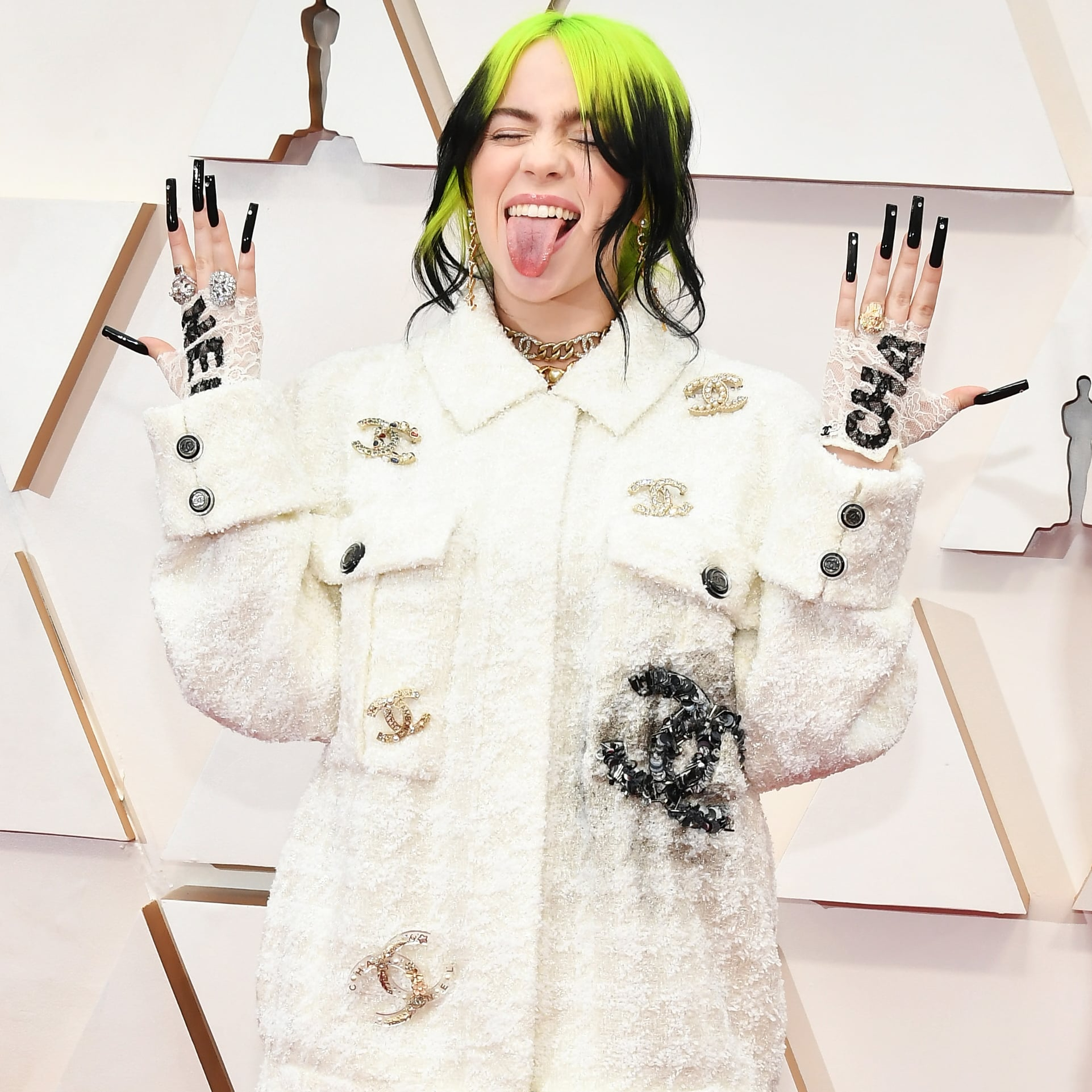 Billie Eilish's White Chanel Tweed Suit at the 2020 Oscars | POPSUGAR  Fashion