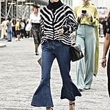 Wear an Animal Print Jumper With Fluted Flares and Daring Platforms