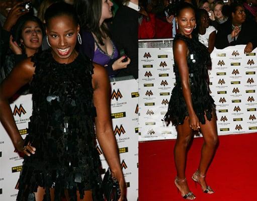 Jamelia at 2008 Mobo Awards, red carpet,