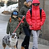 Jennifer Connelly Keeps Her Baby Bump Warm as She Takes Her Sons to School