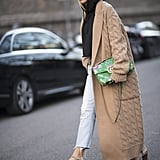 Cropped Hoodie + Long Oatmeal Trench Coat