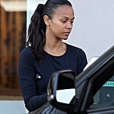 Zoe Saldana Leaving the Gym October 2015 Pictures