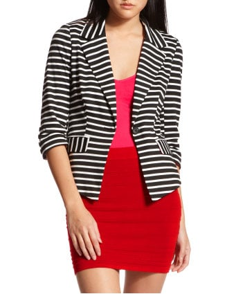 Riffing off of a classic blazer, we think this cotton striped version will look great layered with a white sundress or your favorite pair of denim. Charlotte Russe Striped Ponte-Knit Blazer ($37)