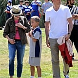Reese Witherspoon and Jim Toth watched Deacon play football in LA on Saturday.
