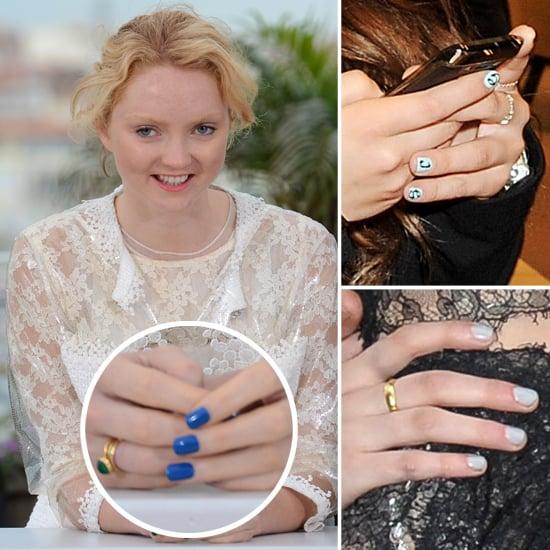 Lily Cole, Kristen Stewart, Chloe Green in Blue Nail Polish