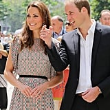 Prince William shared a funny moment with his wife as they enjoyed a cultural event in Singapore on day two of their 2012 tour.
