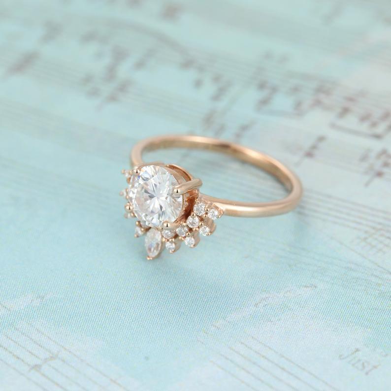Rose Gold Vintage Moissanite Engagement Ring