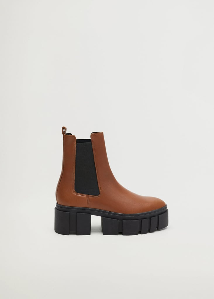 Mango Leather Boots With Track Sole