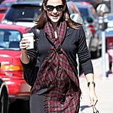 Jennifer Garner carried a to-go bag and a hot drink.