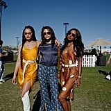 Shanina Shaik, Georgia Fowler, and Jasmine Tookes at Coachella 2019