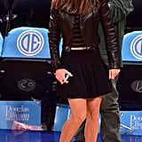 """""""So, Where's the Sports Bar?"""" Asked Hilary Swank's Leather Louboutins, Moto Jacket, and Crop Top"""