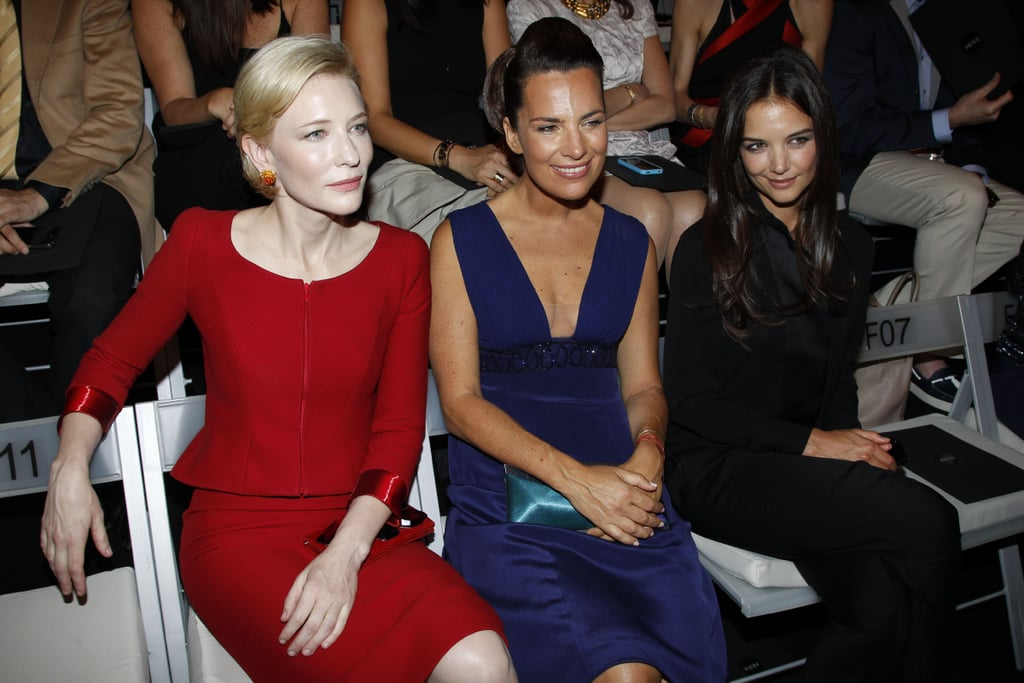 Cate Blanchett, Katie Holmes, and Roberta Armani at the Armani Couture show in Paris.