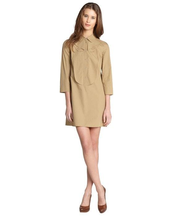 Miu Miu Khaki Cotton Button Down Long Sleeve Mini Dress ($650)