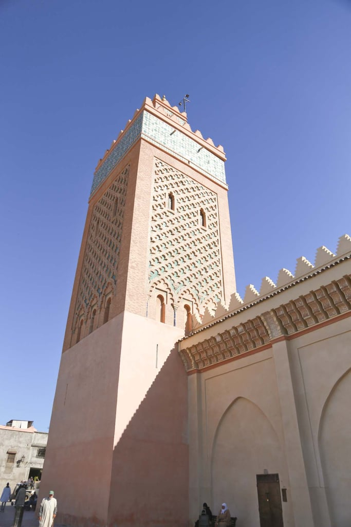 "They call Marrakesh the ""red city,"" because almost every building has a rose tint. This was a tower outside the Saadian Tombs, and I was completely obsessed with the design of it."