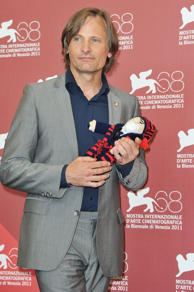 Viggo Mortensen wore a silver suit to the Venice Film Festival