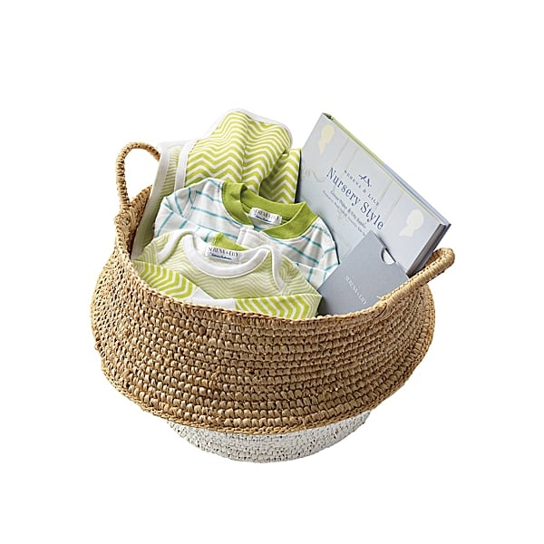 Perhaps the chic-est, most welcome new baby gift ever, the Stinson Gift Basket ($150) includes a Hanna Andersson sleeper, chevron bodysuit and matching stroller blanket, and Serena & Lily's Nursery Style book, all packaged in a beautiful handwoven seagrass basket.