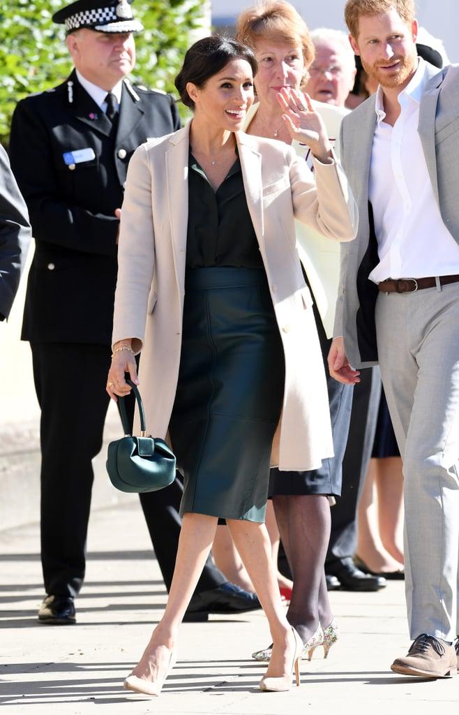Meghan Markle Carrying a Gabriela Hearst Demi Emerald Satin Tote Bag