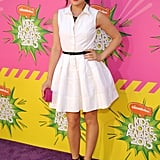 Lucy Hale in White Dior Belted Dress