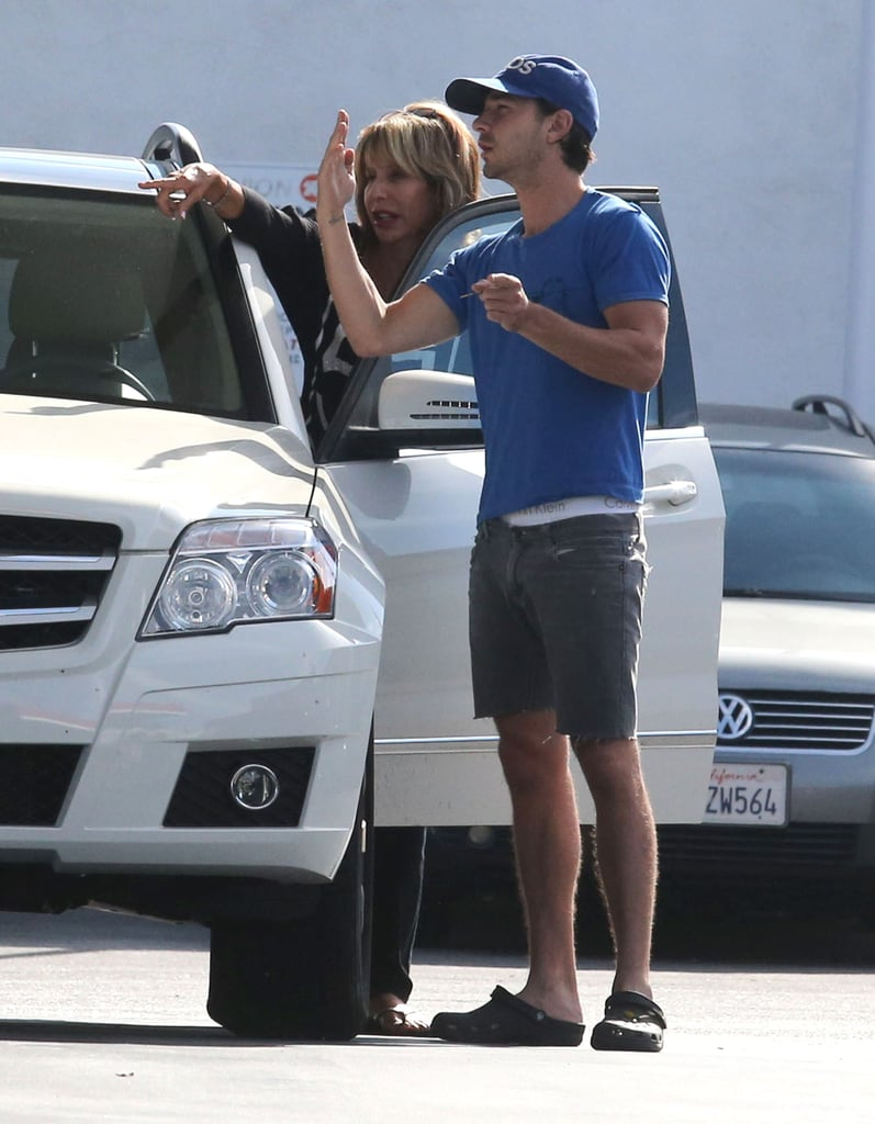 Shia LaBeouf was at a gas station outside LA on Saturday when a woman stopped to ask him for directions. Shia, who was sporting cutoffs and Crocs in the California heat, appeared to be in a neighborly mood as he helped the driver find her way. He's back home in LA after a September spent mostly on the road. Shia was at the Venice Film Festival for the premiere of The Company You Keep, his film with Robert Redford, before heading to Germany to start his Lars von Trier-helmed project, Nymphomaniac. Shia has been open about the film's controversial material, which will feature graphic sex scenes, and he hasn't been opposed to baring all in front of the cameras in the past. Shia starred in a Sigur Rós music video this Summer, in which he appeared fully nude.