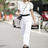 Accessorise an all-white ensemble for a monochrome look.