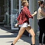 Miley Cyrus wore a plaid shirt and cutoff shorts in LA.