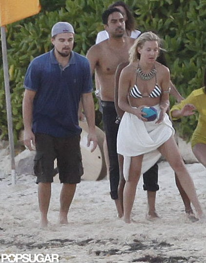 Leonardo DiCaprio played a game of beach football with friend Kate Hudson while in Cancun for Topshop founder Philip Green's birthday party in March 2012.