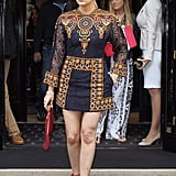 While in Paris before Kim's wedding, Khloé stepped out in a colorful patterned minidress.