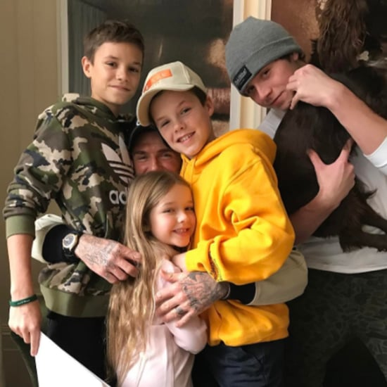 David Beckham Hugging His Kids Instagram Picture Jan. 2017