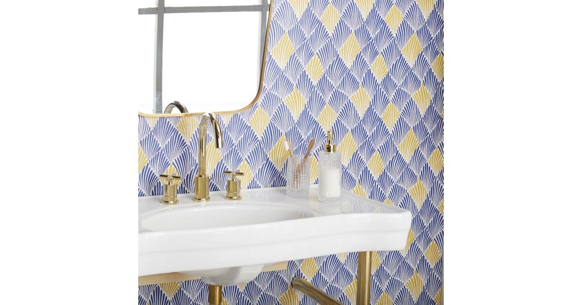 Blue Yellow Art Deco Fan Peel  Stick Wallpaper